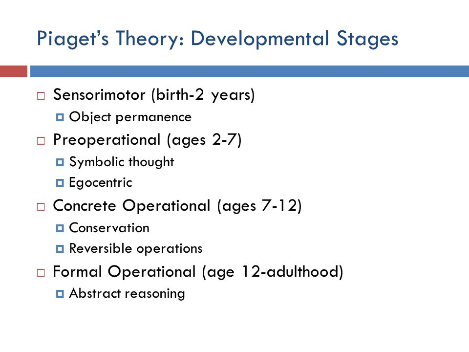 Piaget's Theory: Developmental Stages