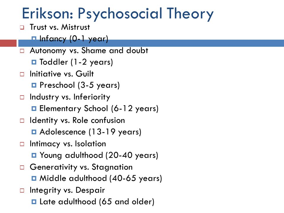 Erikson: Psychosocial Theory