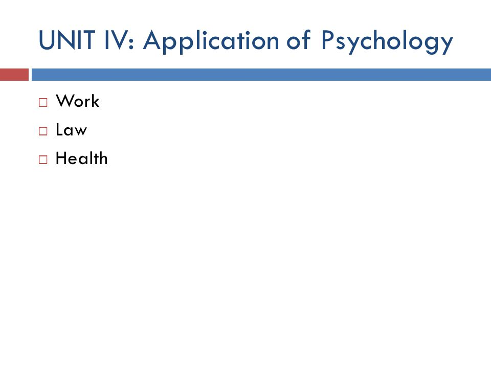 UNIT IV: Application of Psychology