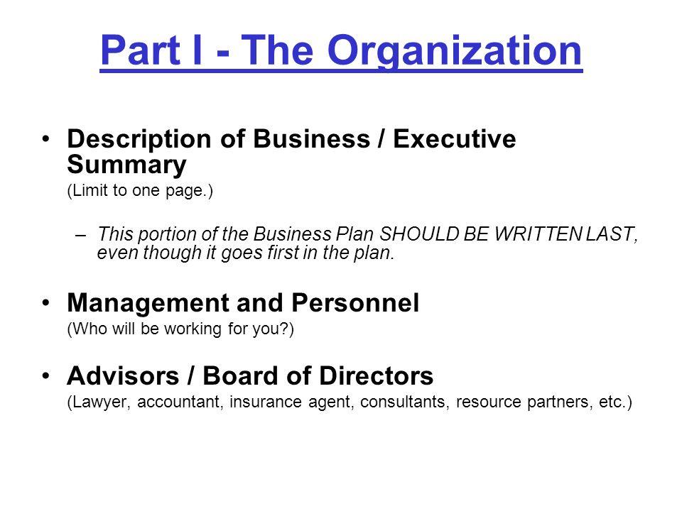 Part I - The Organization