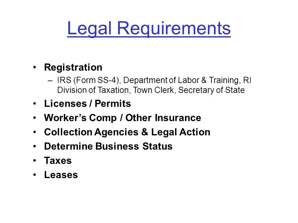 Legal Requirements Registration Licenses / Permits