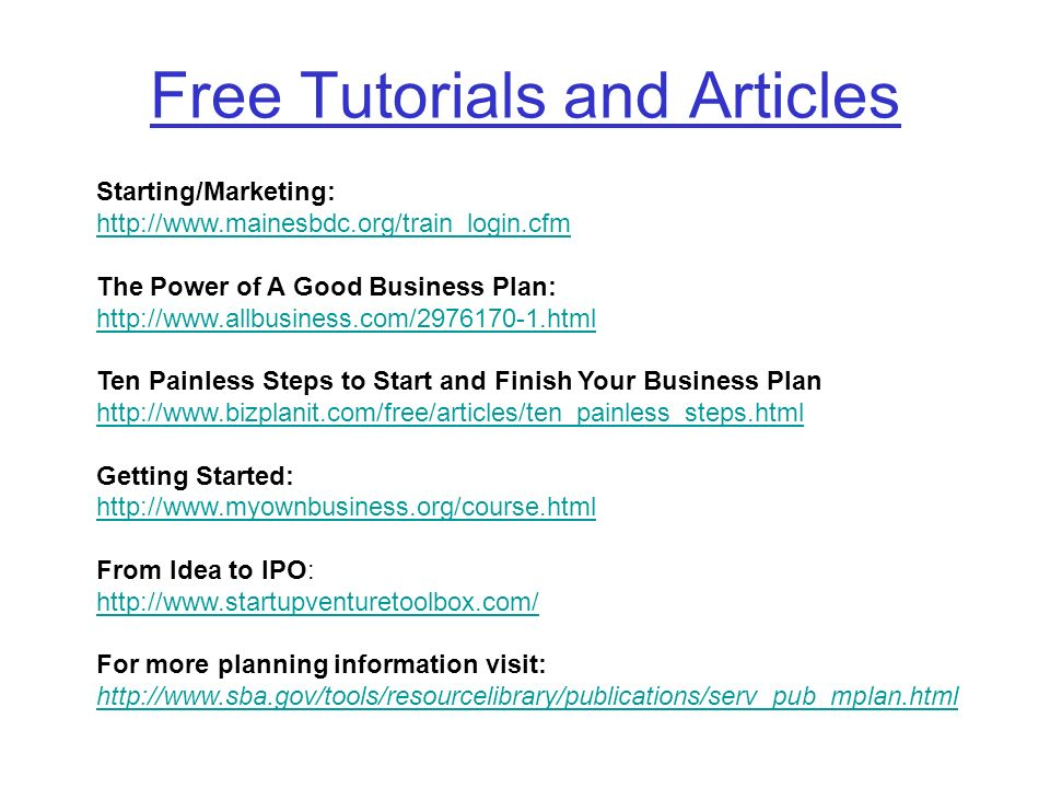 Free Tutorials and Articles