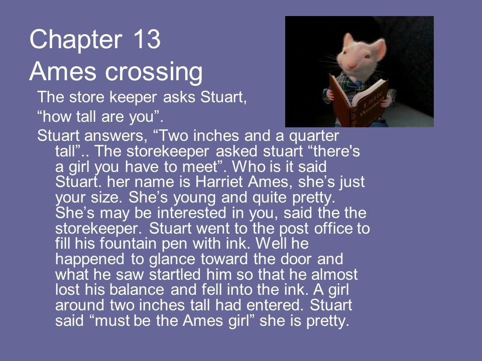 Chapter 13 Ames crossing The store keeper asks Stuart,