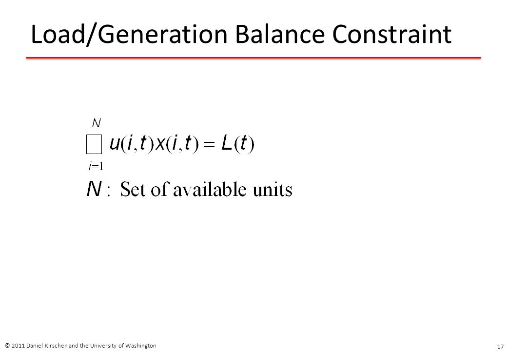 Load/Generation Balance Constraint