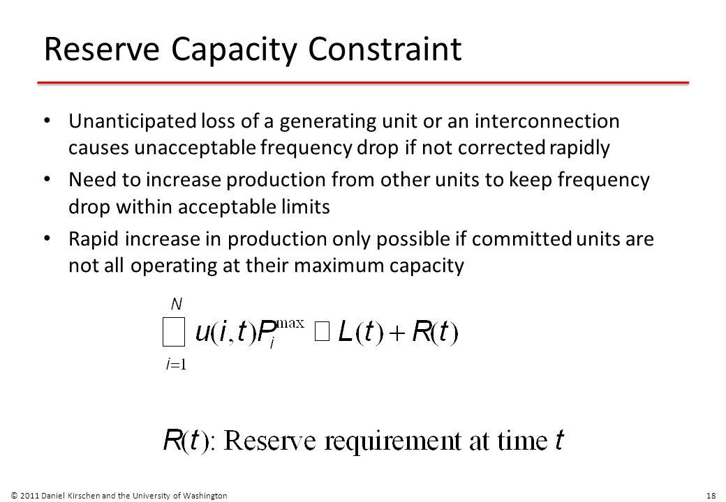 Reserve Capacity Constraint