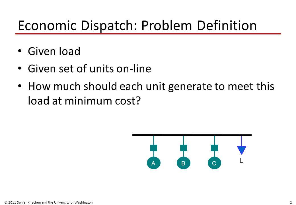 Economic Dispatch: Problem Definition