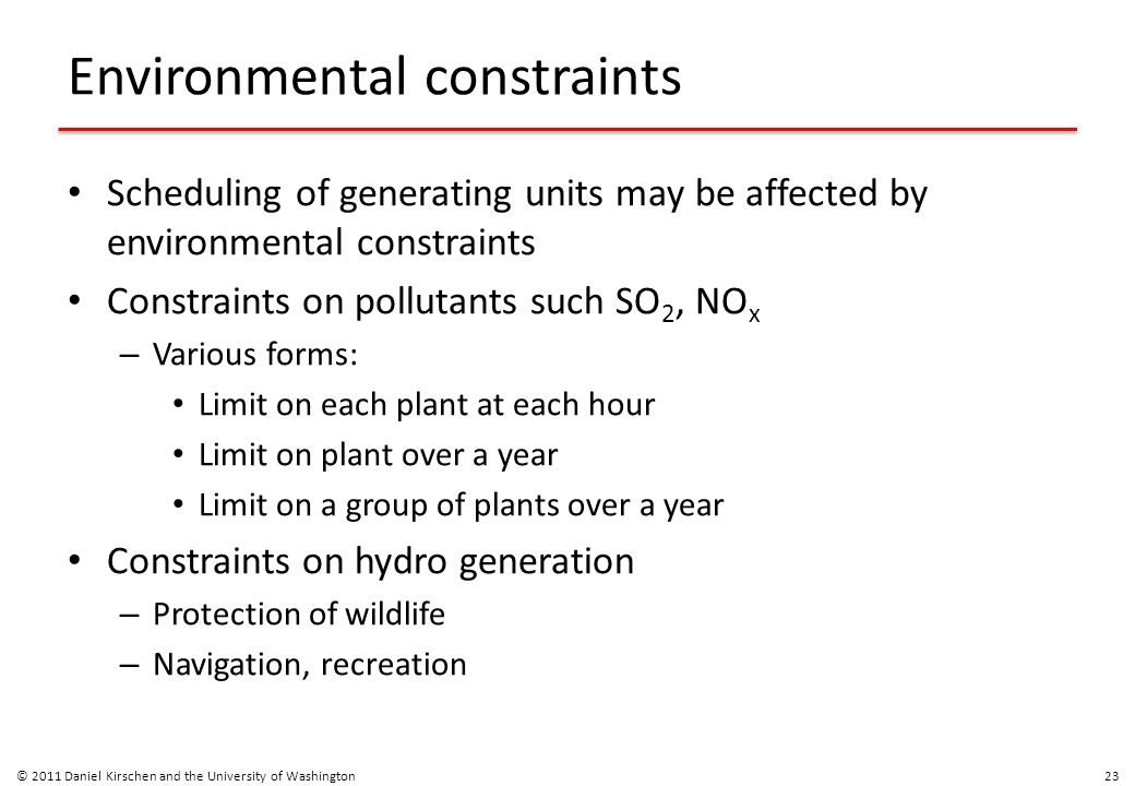 Environmental constraints