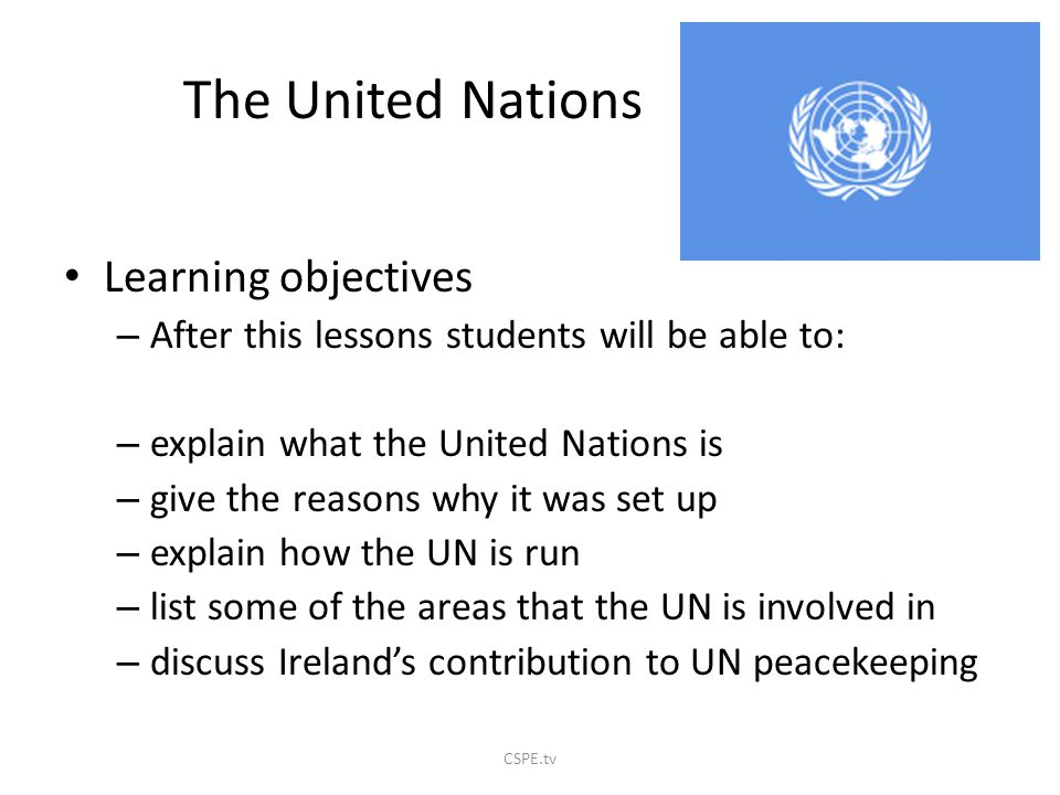 The United Nations Learning objectives