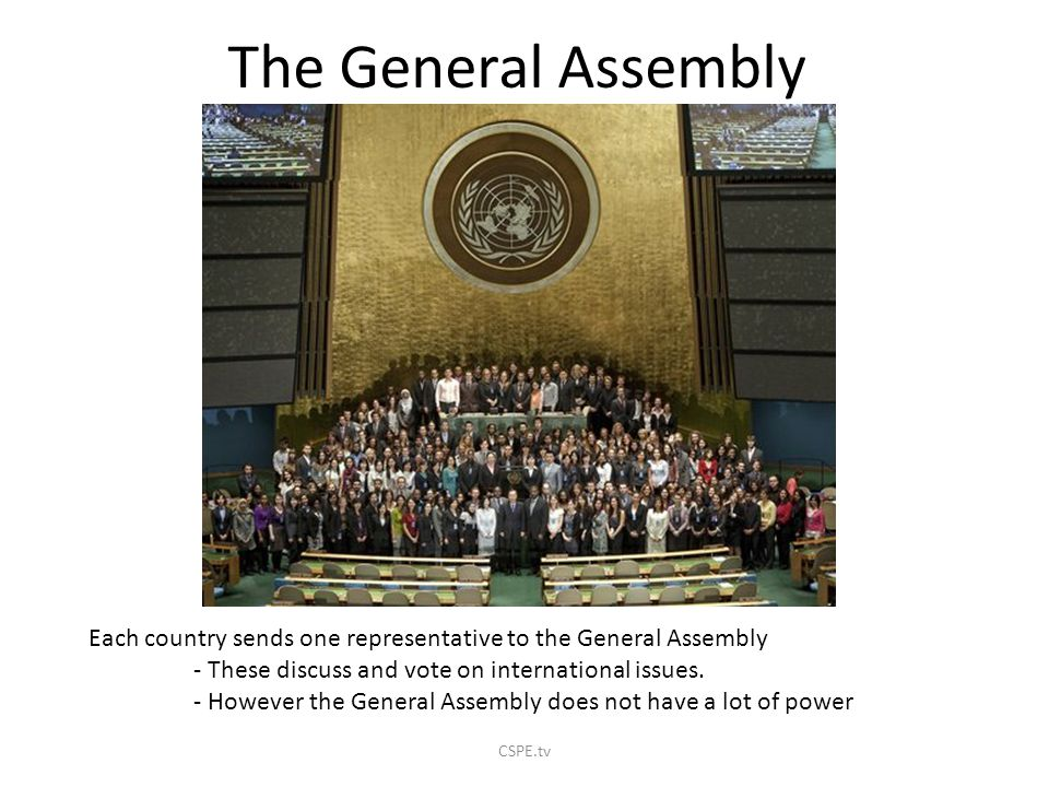 The General Assembly Each country sends one representative to the General Assembly. - These discuss and vote on international issues.