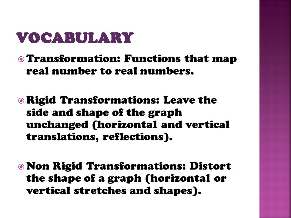 Vocabulary Transformation: Functions that map real number to real numbers.