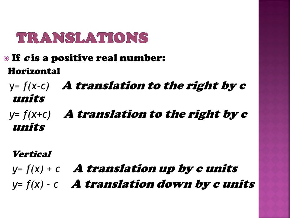 Translations If c is a positive real number: