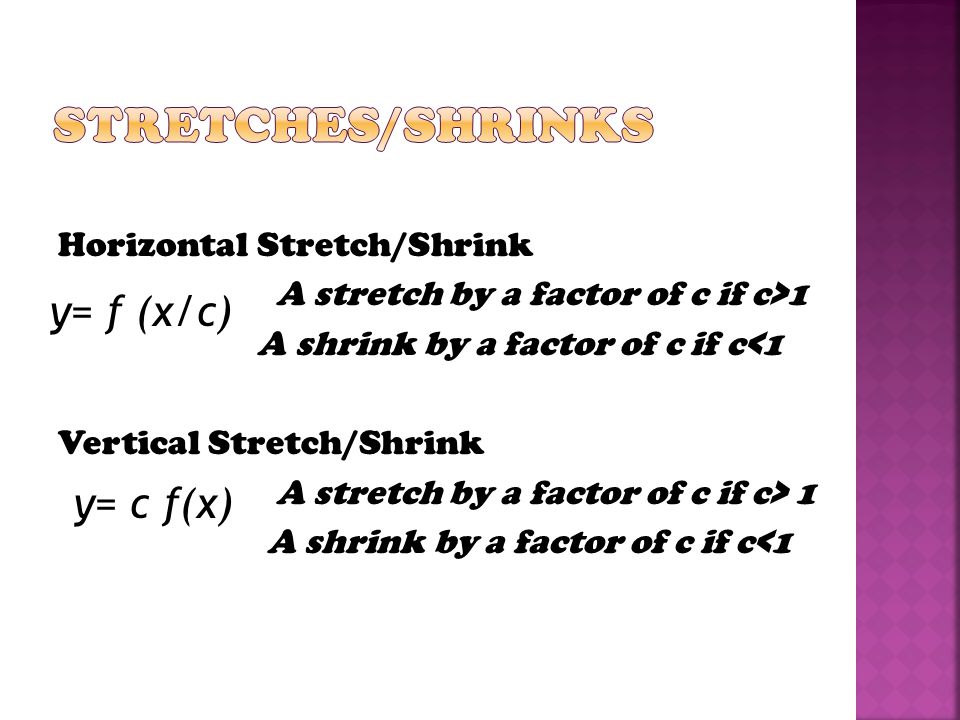 Stretches/Shrinks y= f (x/c) y= c f(x)
