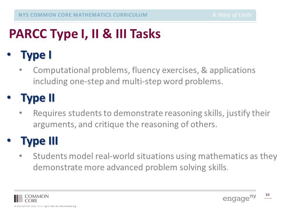 PARCC Type I, II & III Tasks
