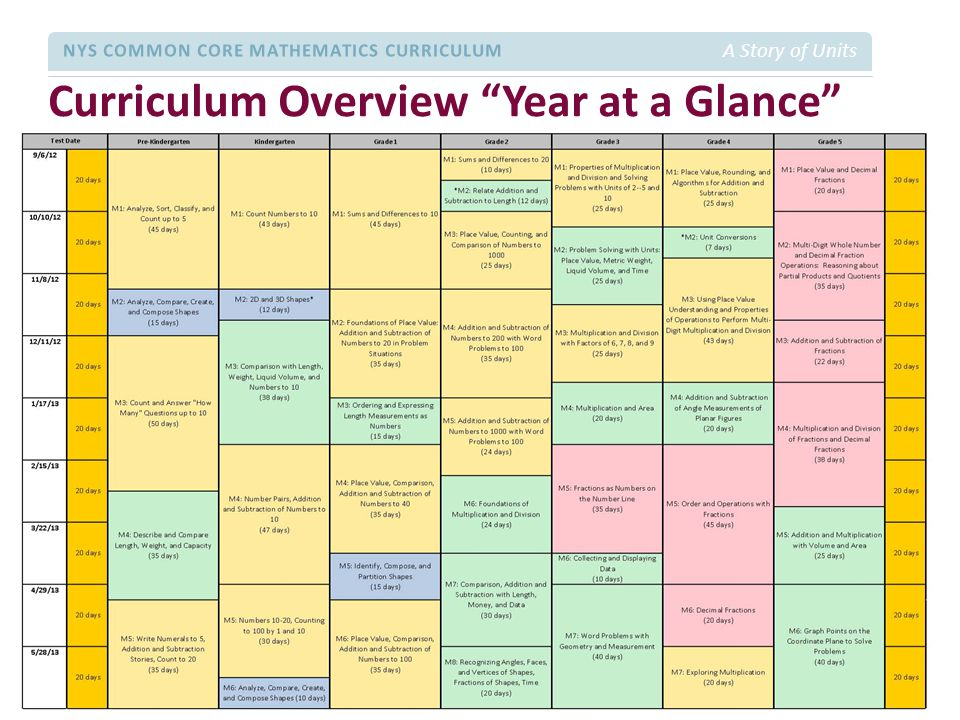 Curriculum Overview Year at a Glance