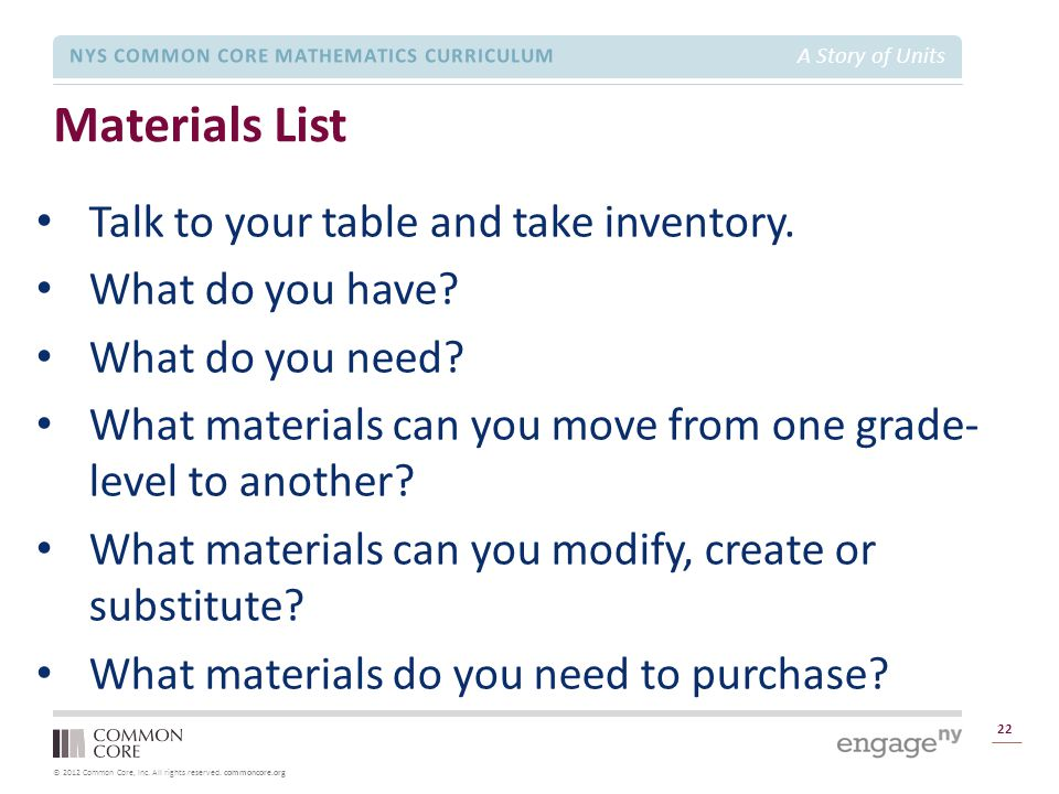 Materials List Talk to your table and take inventory.