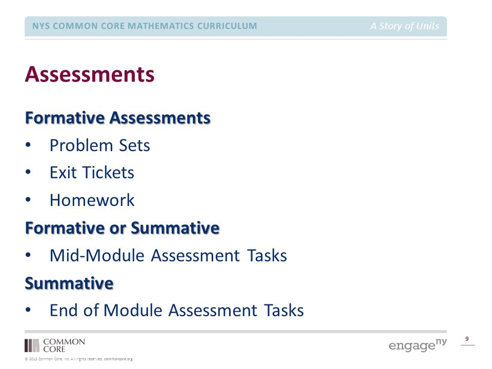 Assessments Formative Assessments Problem Sets Exit Tickets Homework