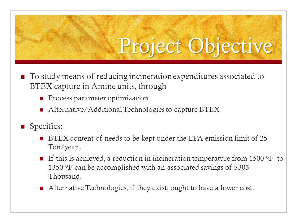 Project Objective To study means of reducing incineration expenditures associated to BTEX capture in Amine units, through.