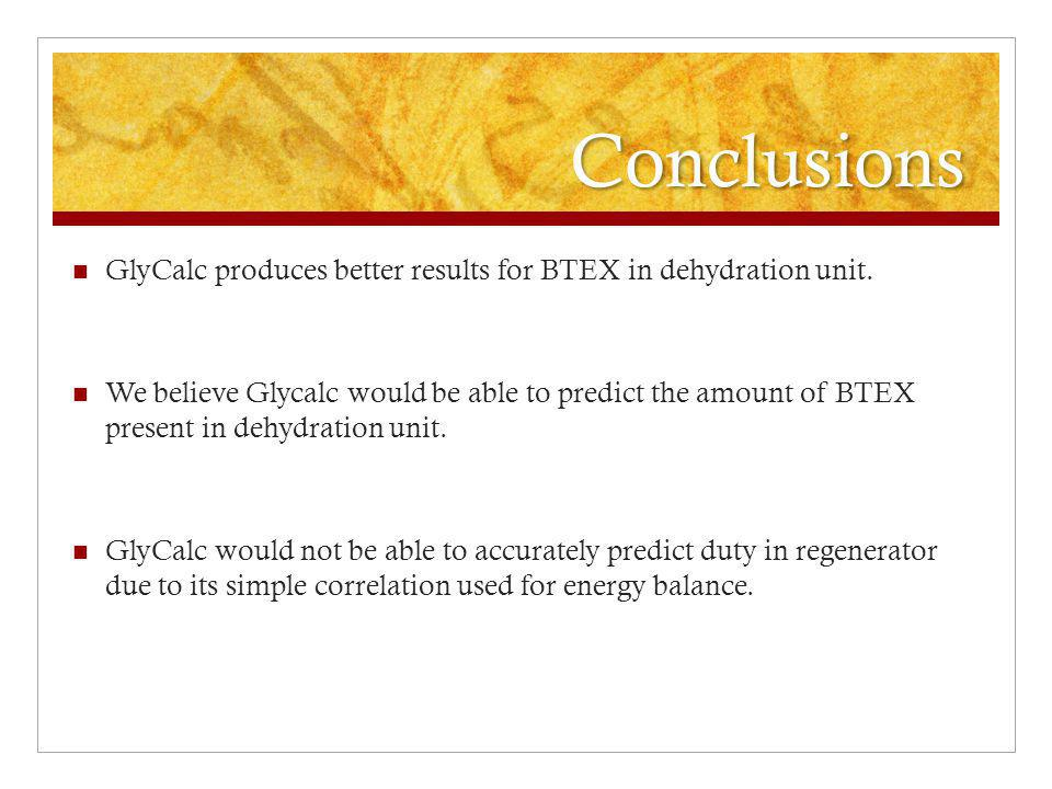 Conclusions GlyCalc produces better results for BTEX in dehydration unit.