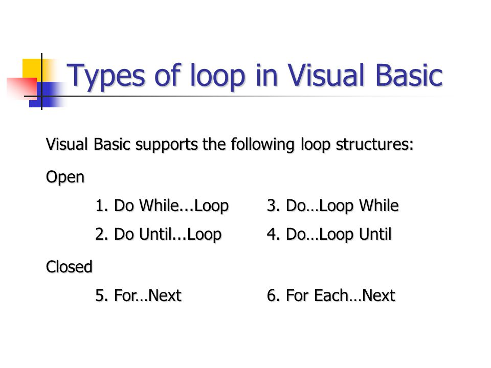 Types of loop in Visual Basic