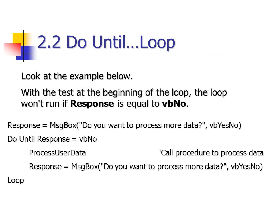 2.2 Do Until…Loop Look at the example below.