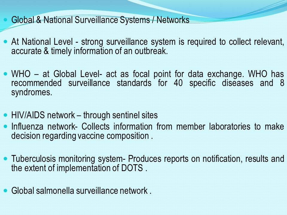 Global & National Surveillance Systems / Networks
