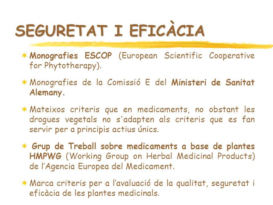 SEGURETAT I EFICÀCIA Monografies ESCOP (European Scientific Cooperative for Phytotherapy).
