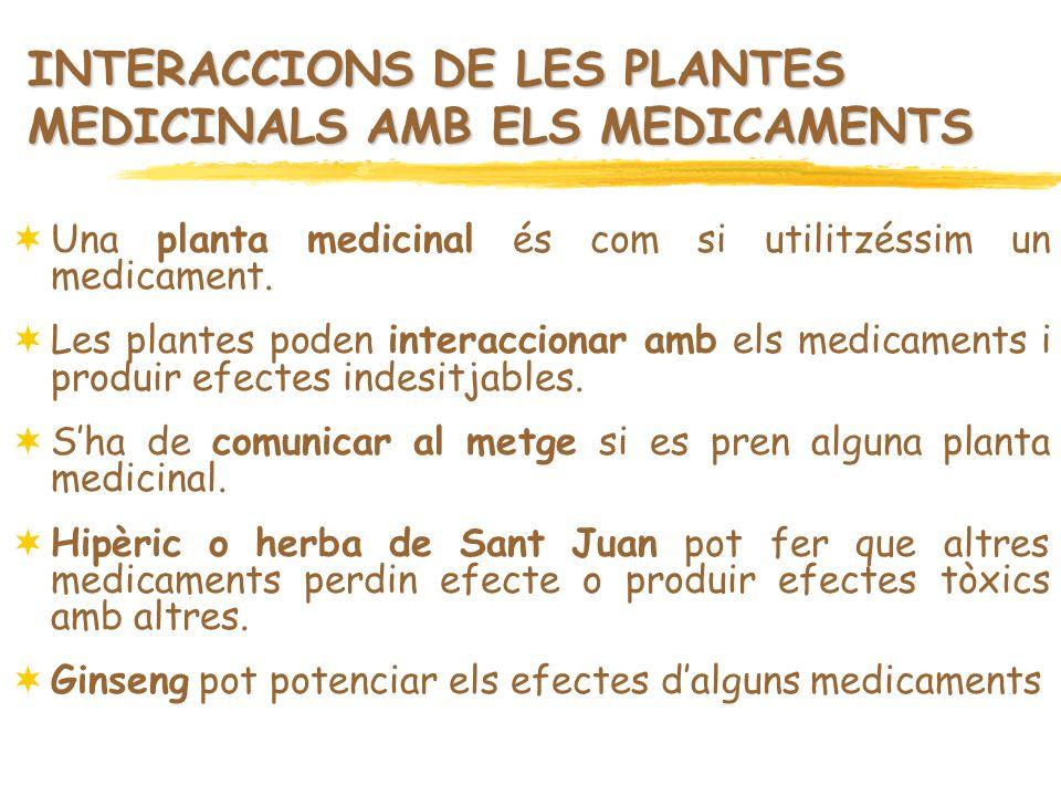 INTERACCIONS DE LES PLANTES MEDICINALS AMB ELS MEDICAMENTS