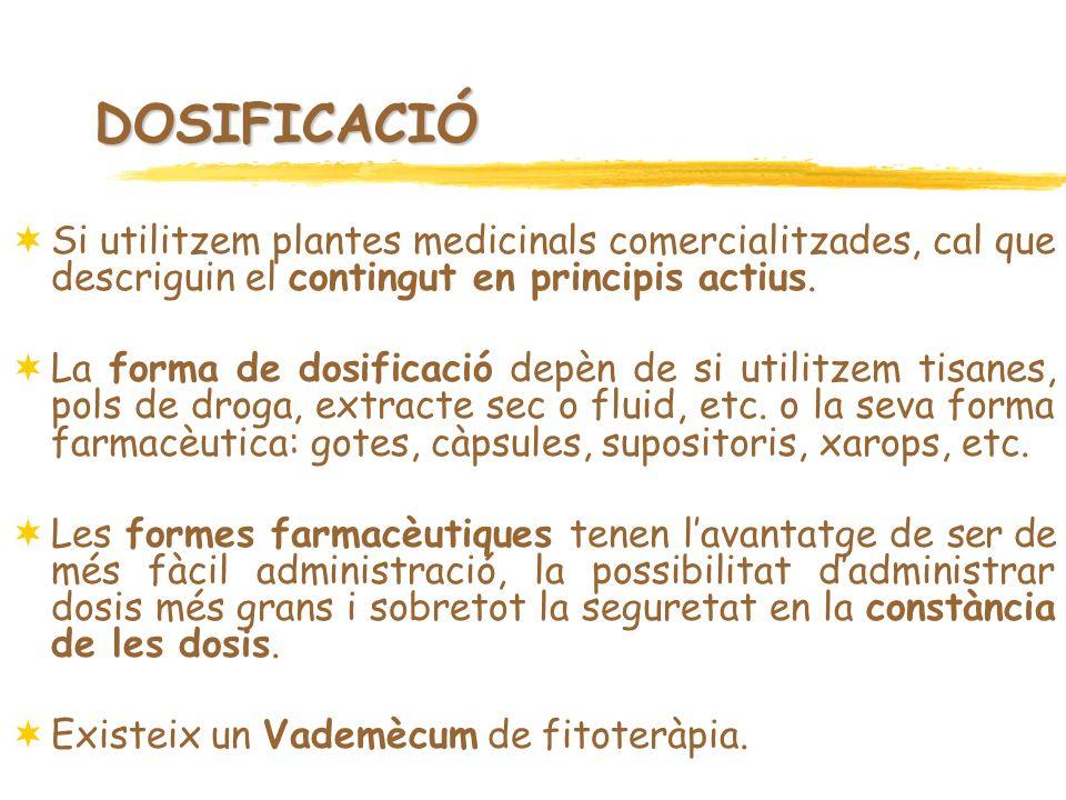 DOSIFICACIÓ Si utilitzem plantes medicinals comercialitzades, cal que descriguin el contingut en principis actius.