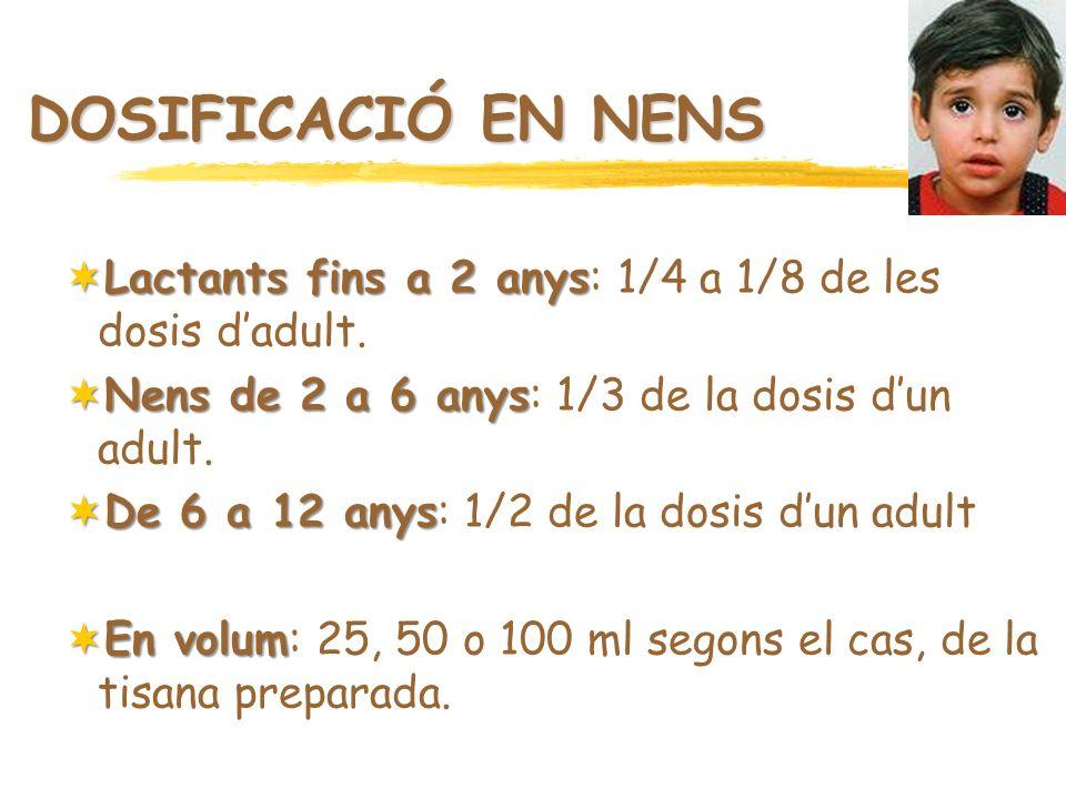 DOSIFICACIÓ EN NENS Lactants fins a 2 anys: 1/4 a 1/8 de les dosis d'adult. Nens de 2 a 6 anys: 1/3 de la dosis d'un adult.