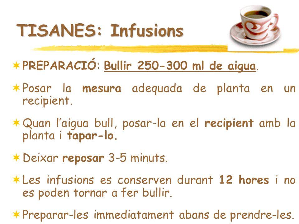 TISANES: Infusions PREPARACIÓ: Bullir 250-300 ml de aigua.