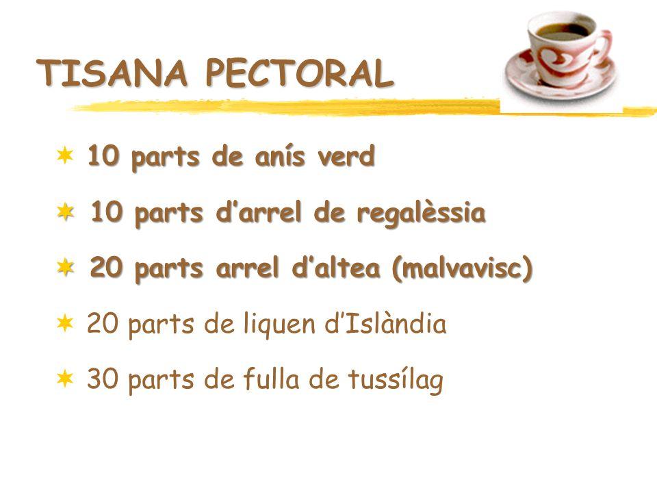 TISANA PECTORAL 10 parts de anís verd 10 parts d'arrel de regalèssia