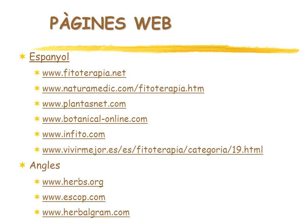 PÀGINES WEB Espanyol Angles www.fitoterapia.net