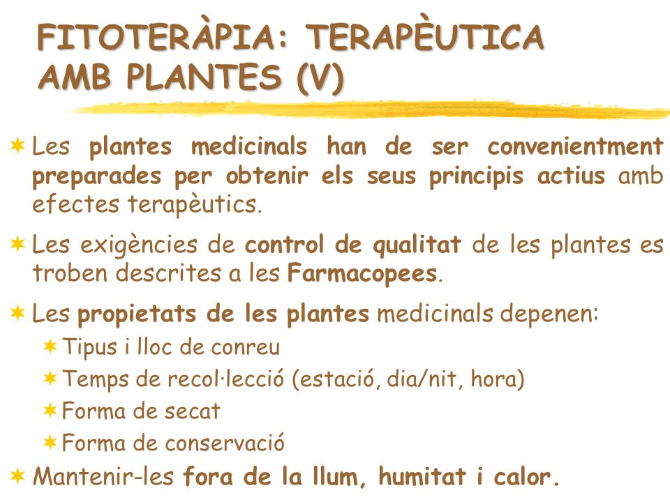 FITOTERÀPIA: TERAPÈUTICA AMB PLANTES (V)