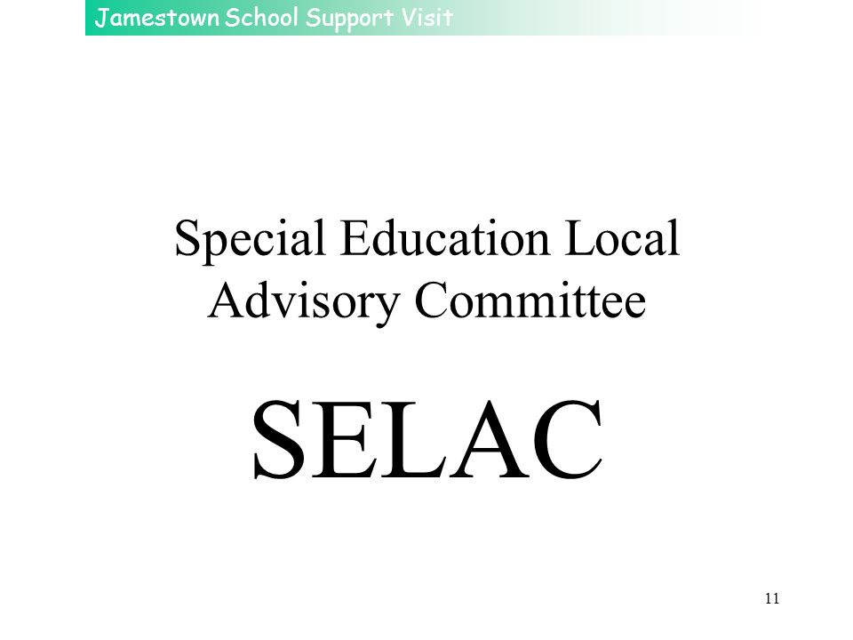 Special Education Local Advisory Committee