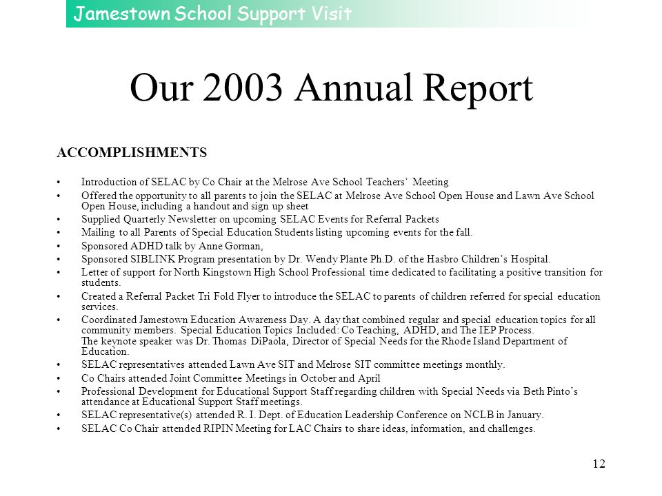 Our 2003 Annual Report ACCOMPLISHMENTS