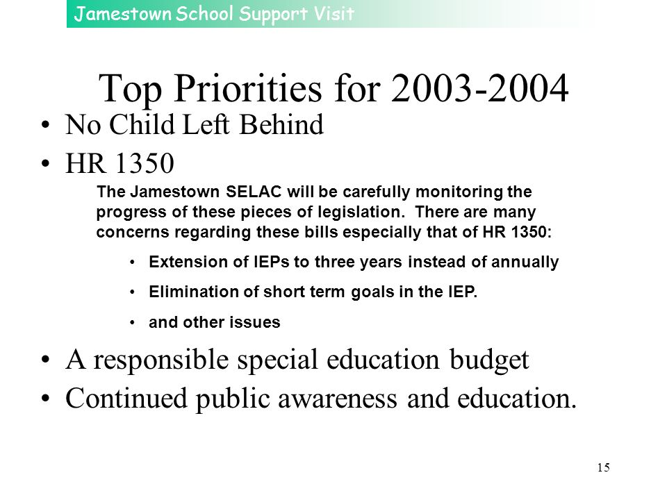 Top Priorities for 2003-2004 No Child Left Behind HR 1350
