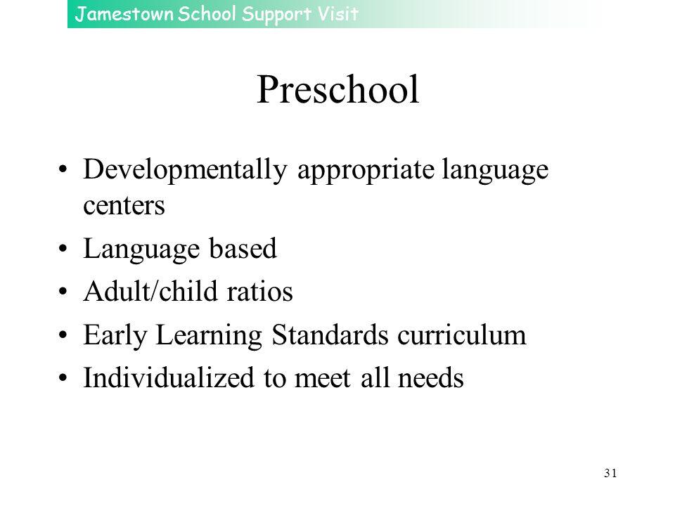 Preschool Developmentally appropriate language centers Language based