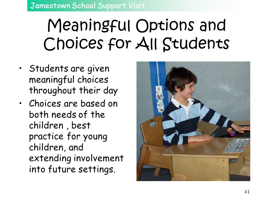 Meaningful Options and Choices for All Students