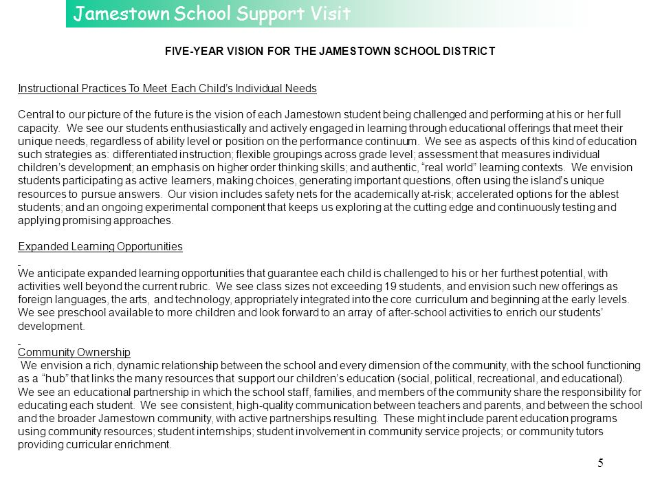 FIVE-YEAR VISION FOR THE JAMESTOWN SCHOOL DISTRICT