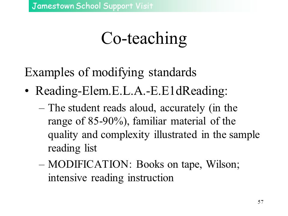 Co-teaching Examples of modifying standards