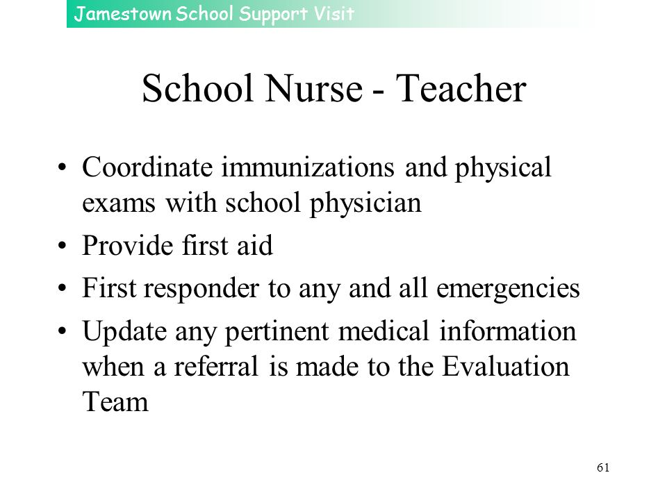 School Nurse - Teacher Coordinate immunizations and physical exams with school physician. Provide first aid.