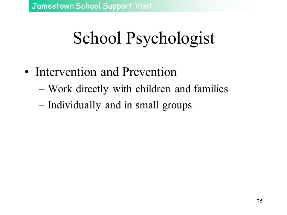 School Psychologist Intervention and Prevention