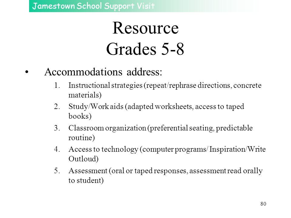 Resource Grades 5-8 Accommodations address: