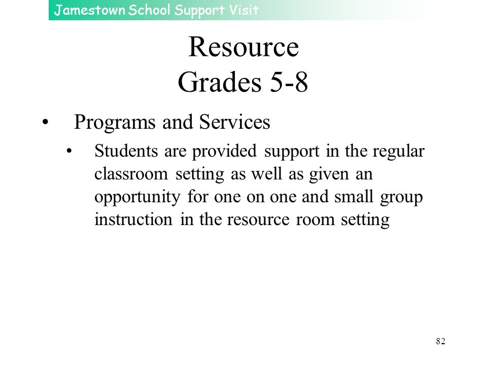 Resource Grades 5-8 Programs and Services