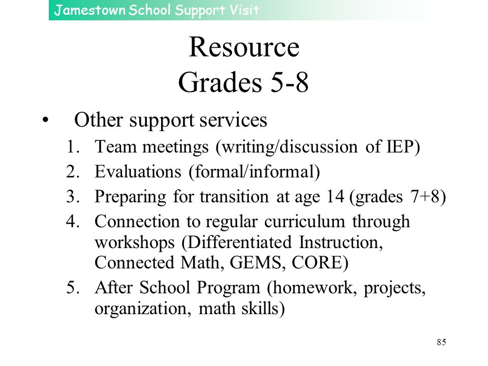 Resource Grades 5-8 Other support services