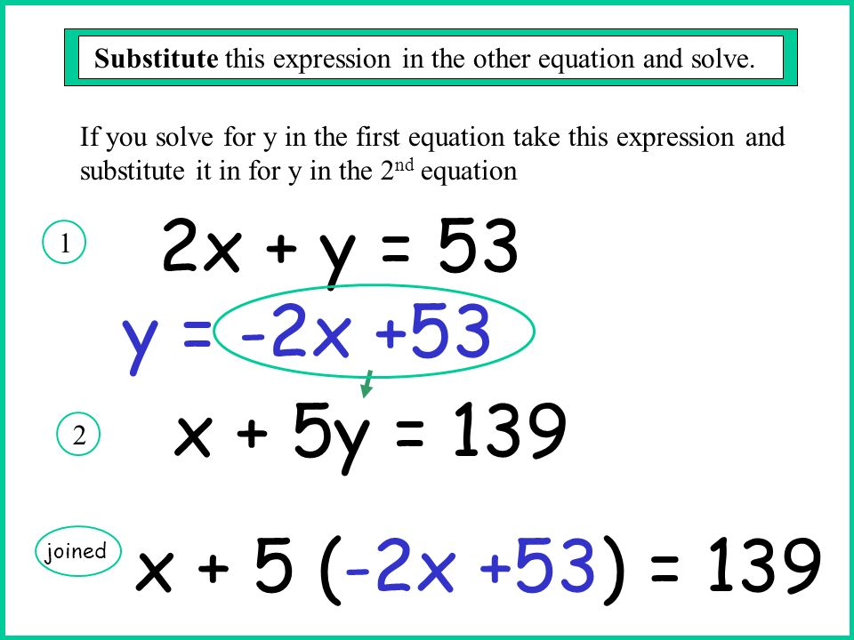 2x + y = 53 y = -2x +53 x + 5y = 139 x + 5 (-2x +53) = 139