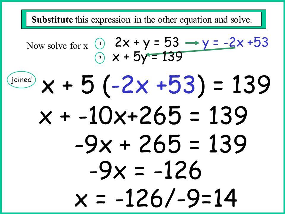 x + 5 (-2x +53) = 139 x + -10x+265 = 139 -9x + 265 = 139 -9x = -126