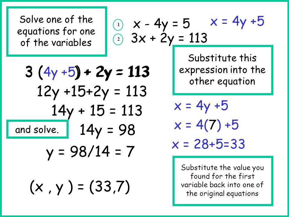3 ( ) + 2y = 113 3 (4y +5) + 2y = 113 12y +15+2y = 113 14y + 15 = 113