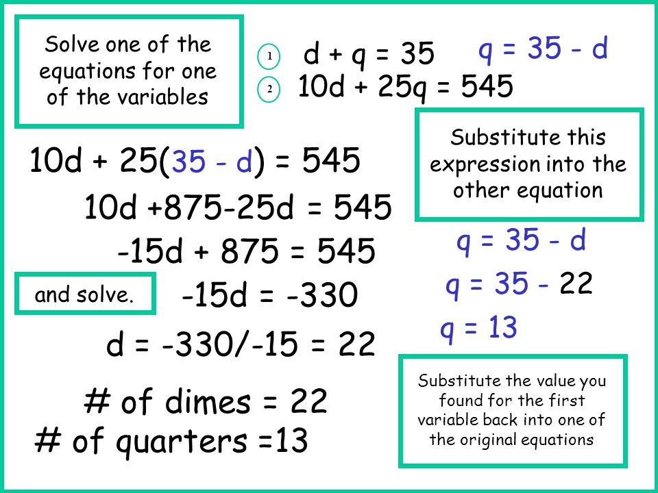 10d + 25(35 - d) = 545 10d +875-25d = 545 -15d + 875 = 545 -15d = -330