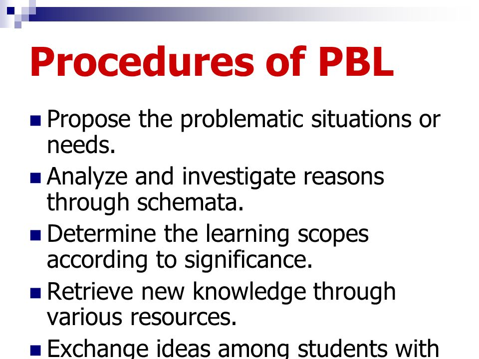 Procedures of PBL Propose the problematic situations or needs.